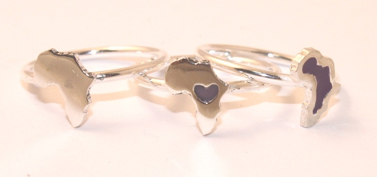Sterling Silver Africa Rings with Resin Inlay