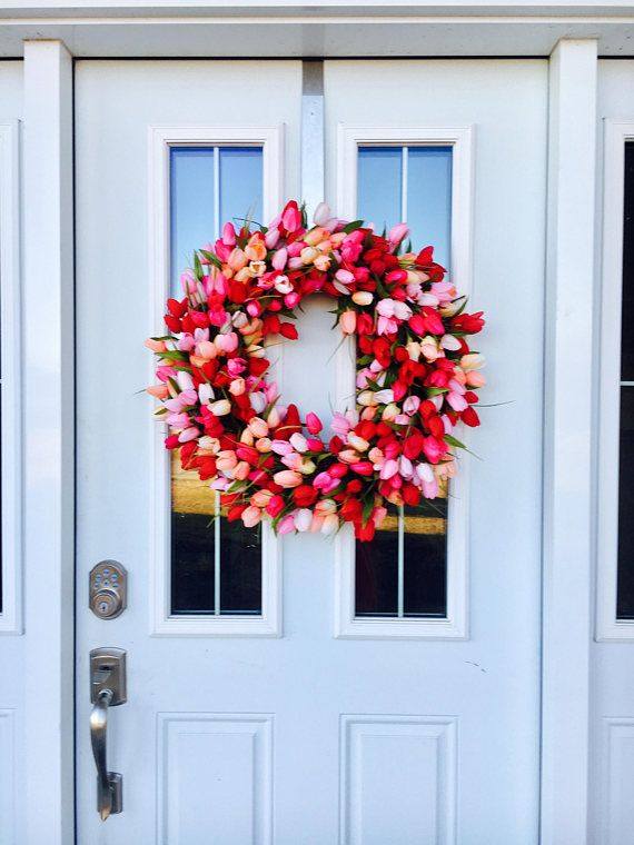 Tulip Wreath, Pink Wreath, Floral Wreath, Summer Wreath For Front Door, Spring Tulips, Front Porch Decor, Door Wreath, Artifical Wreath