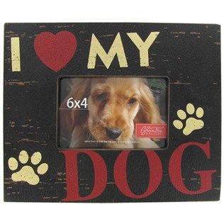 """Green Tree Gallery 6"""" x 4"""" Black I Love My Dog MDF Picture Frame   Shop Hobby Lobby"""