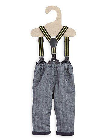 Broek met een visgraatmotief en bretels                                                                                         grijs chevron Jongens babykleding