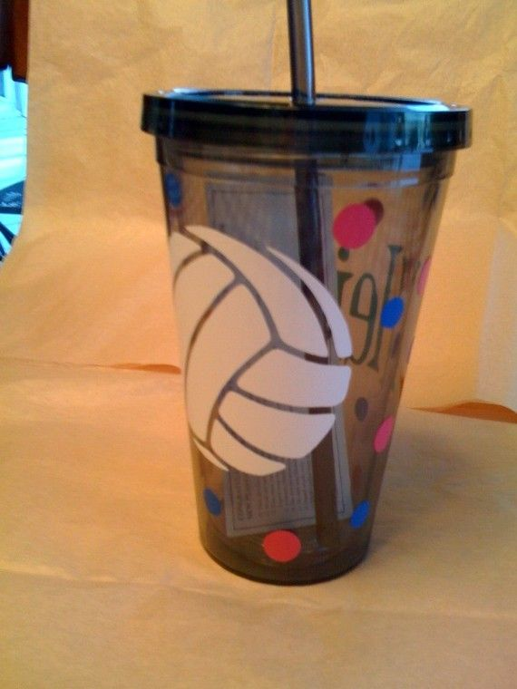 Volleyball gift bag idea - tumbler w/ vinyl deco I can do this for my girls camp secret sister who plays softball