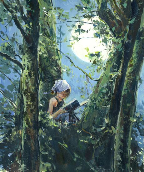 Claire Fletcher Artist: Backyard Reading, Book Lovers, Girls Reading, Girls Generation, Artists Trees, Claire Fletcher, Paintings Of Reading, Fletcher Artists, Reading Spots