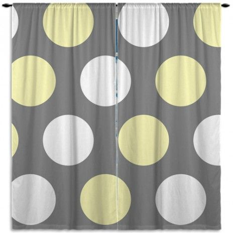 Gray and Yellow Kid Curtain Panels, with White Polka Dots #3 #EloquentInnovations #Window #Curtains #HomeDecor #Kids #Curtain #Custom #PolkaDot