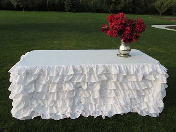 Ruffled Tablecloth for 8ft Rectangle-Valentine's by MyHauteStuff