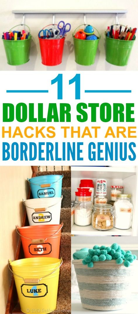 These 11 life changing dollar store organizing hacks are THE BEST! I'm so glad I found these AWESOME tips! Now I have great ways to keep my home organized on a dime! Definitely pinning for later!