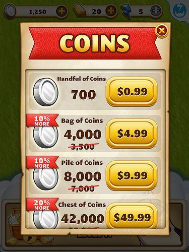 Jewel Mania Virtual currency Bank: screenshots, UI