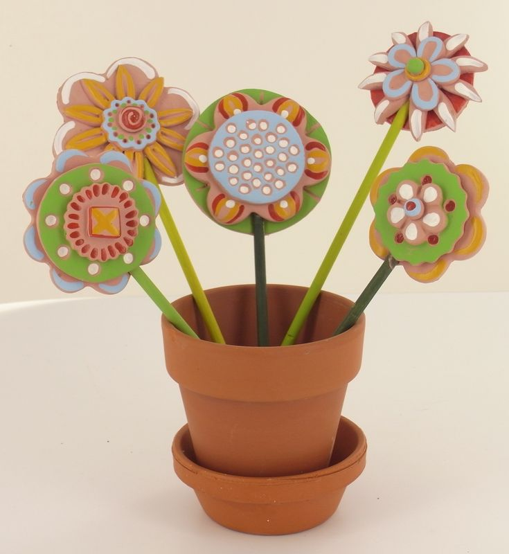 Clay Flowers Tutorials: Model Air® Clay Flowers In Flower Pot