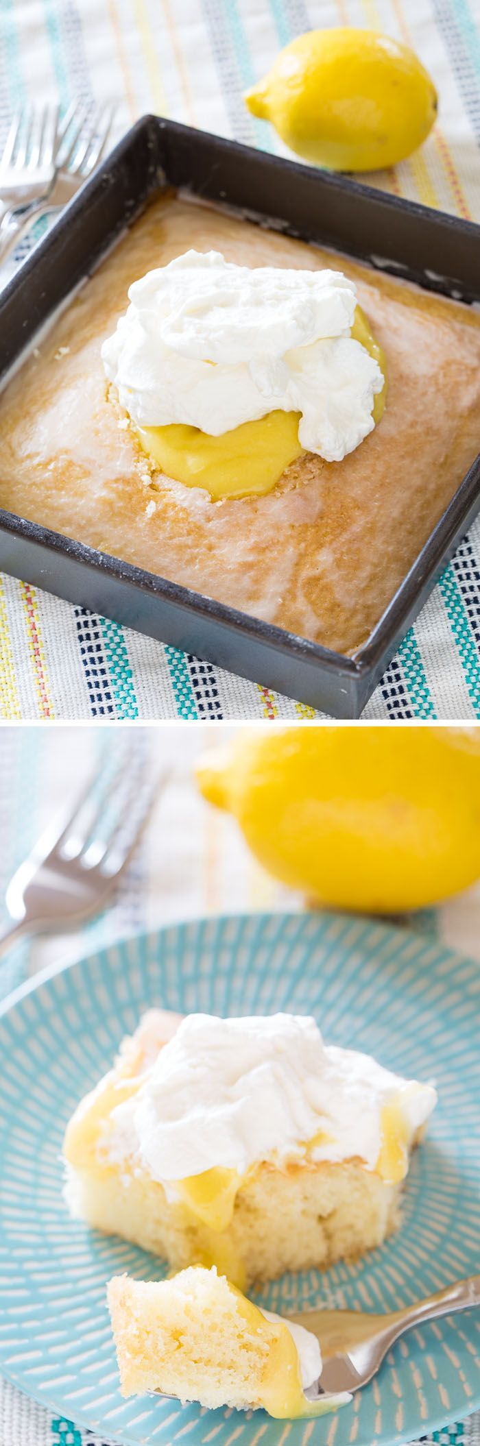 This recipe for Lemon Curd Cream Cake combines a buttery, melting white cake with lemon glaze, lemon curd, and whipped cream: a heavenly combination!