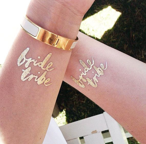 The Original Bride Tribe © bachelorette tattoo. Gift these bachelorette party favors to your Bride Tribe / Bride Squad! These gold flash tattoos