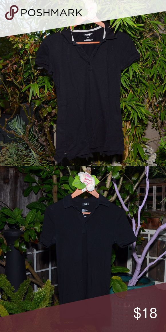 🌿 Special Bundle Lot | Black Polo Shirts Bundle items 🌵Selling two black polo shirts, both are very soft with button down in enclosure on top half of shirt. Great for work or business casual.   First shirt brand: Old Navy Second shirt brand: H&M  Both are size smalls Tops Tees - Short Sleeve