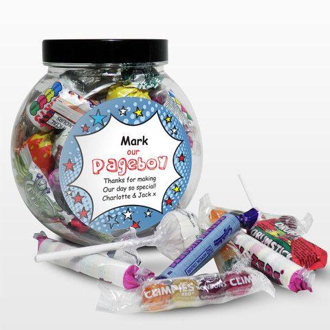 Page Boy Presents - Personalised  Comic Pageboy Sweet Jar Gift - www.vivabop.co.uk