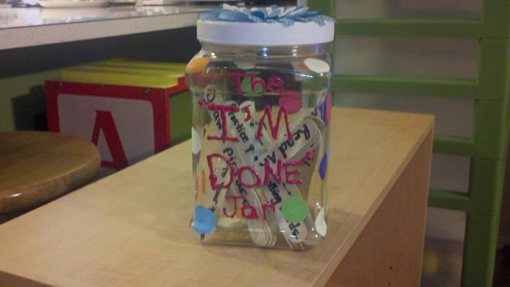 """I <3 this idea.  An 'I'm Done' Jar.  There is a list this teacher gives where the students pull out a popsicle stick when they are done with their assignments and it gives them a new task to do.  Great on saving you from answering those """"what do I do now"""" questions!"""