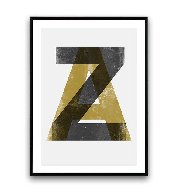 Typografie poster alfabet afdrukken Scandinavische door Wallzilla
