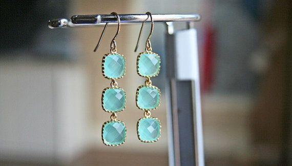 Gold Framed Aqua Earrings Mint Earrings by BellaJewelsInc on Etsy, $33.00