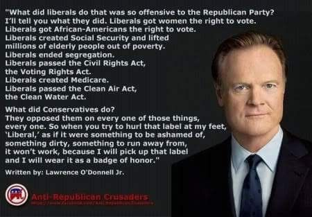 What did liberal Democrats do? ... almost everything meaningful to the country that the conservative Republicans always oppose and obstruct!