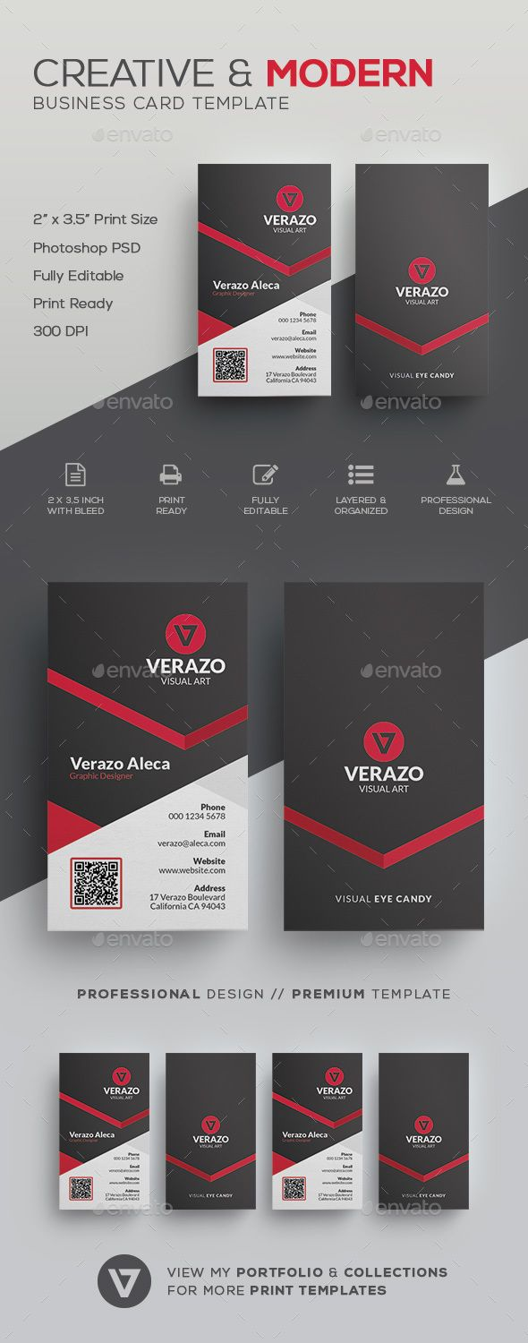 Creative & Modern Business Card Template by verazo Need more high quality business card? View my Business Card Templates Collection OR Save Money! Buy Business Card Bundle for only