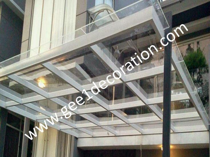 aluminium, kusen, kaca, partisi,  pintu, jendela, lipat, geser, swing, jungkit, pivot, sliding, : atap kanopi kaca tempered