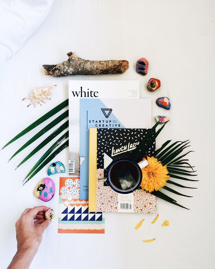 White magazine, Lunch Lady, and Startup creative/ Flat lay design by @tessguinerydesign / tessguinery.co