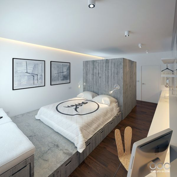 Small Hotel Room by Jose Fraga, via Behance