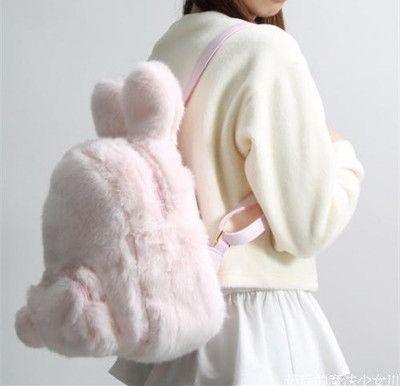 Fluffy rabbit ear ball backpack free shipping