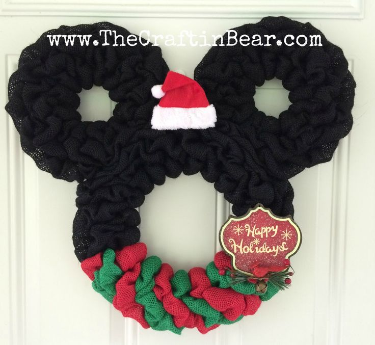 Christmas Mickey Mouse wreath - Burlap wreath - Santa Mickey - disney - Christmas wreath - Christmas Mickey - Christmas Mickey Decor by TheCraftinBear on Etsy https://www.etsy.com/listing/264632708/christmas-mickey-mouse-wreath-burlap