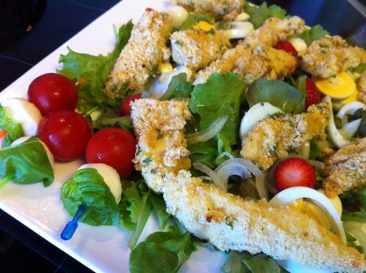 Lauwwarme kipvinger salade