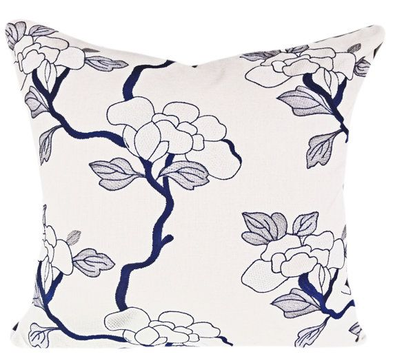 Fabricut Blue Floral Asian Bloom Decorative Pillow Cover - Throw Pillow - Toss Pillow - Solid Navy Blue Velvet Back - 16x16, 18x18, 20x20