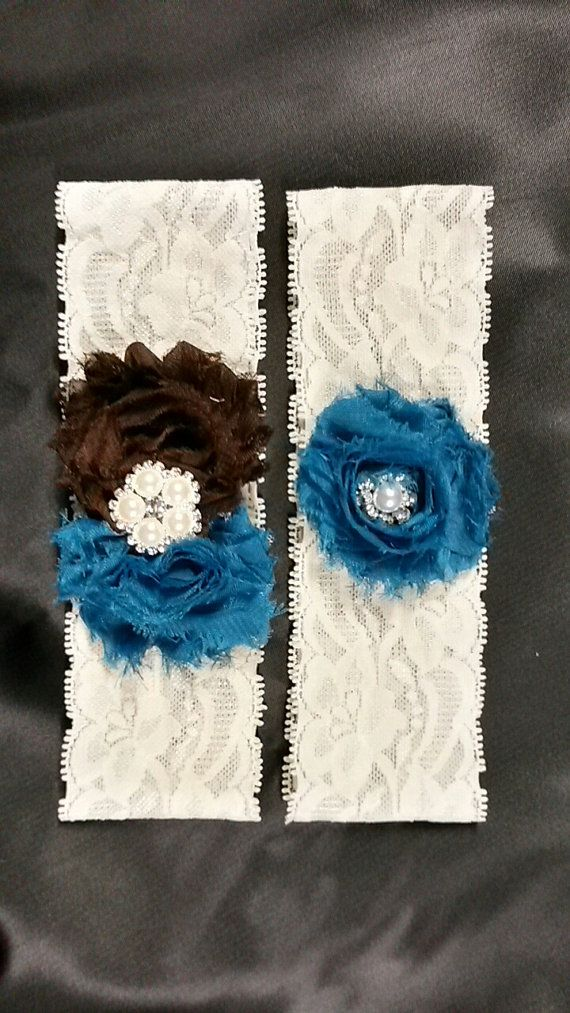 Brown And Teal Wedding Garter Set Bridal Lace Toss Included