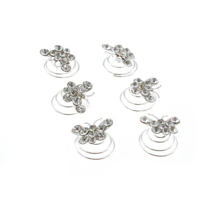 Silver Diamante Butterfly Hair Swirls / Twists / Spirals