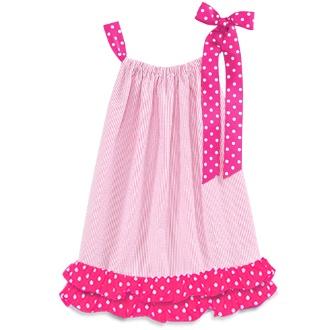pink Pillowcase Dress- I like the cute ruffle on the bottom. Not the normal pillowcase dress style