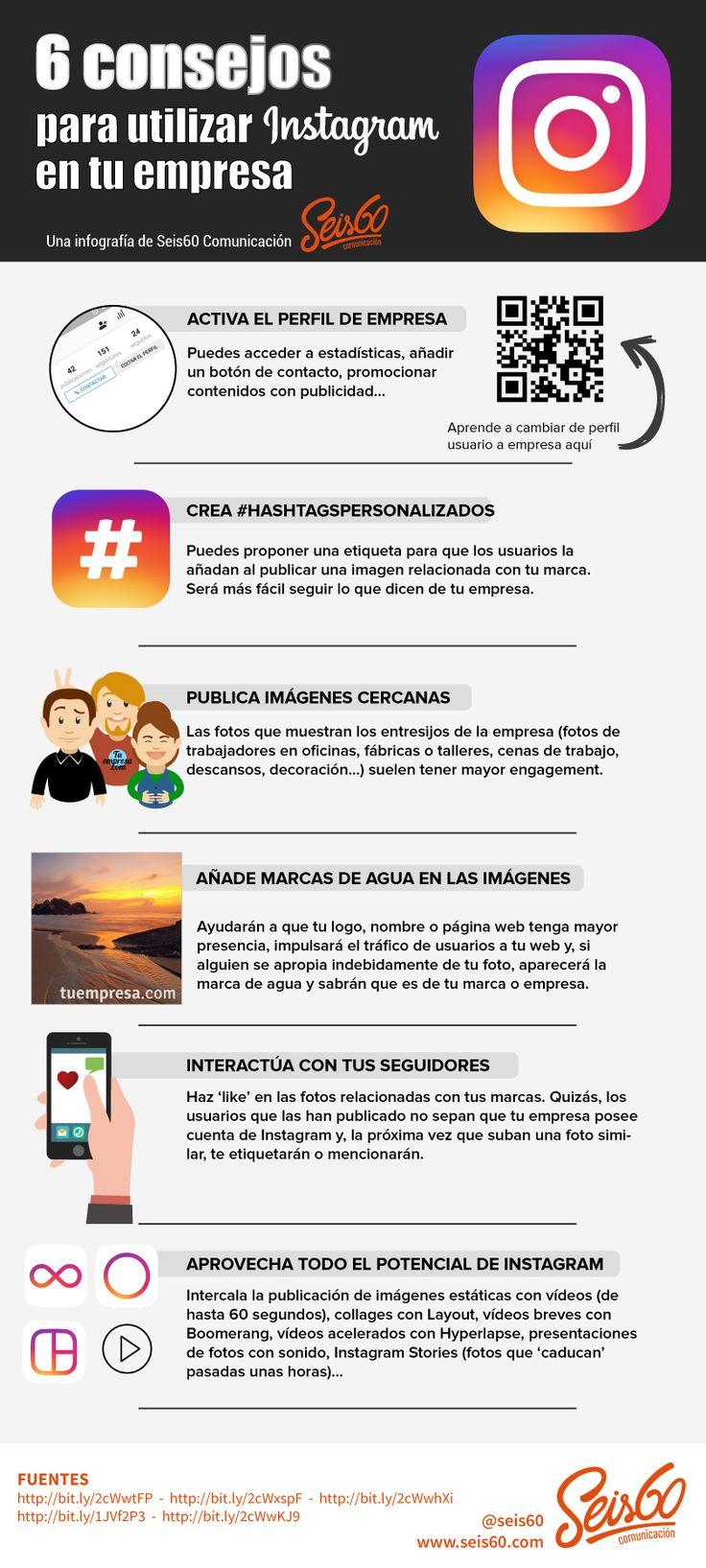 6 consejos para utilizar Instagram en tu empresa #infografia