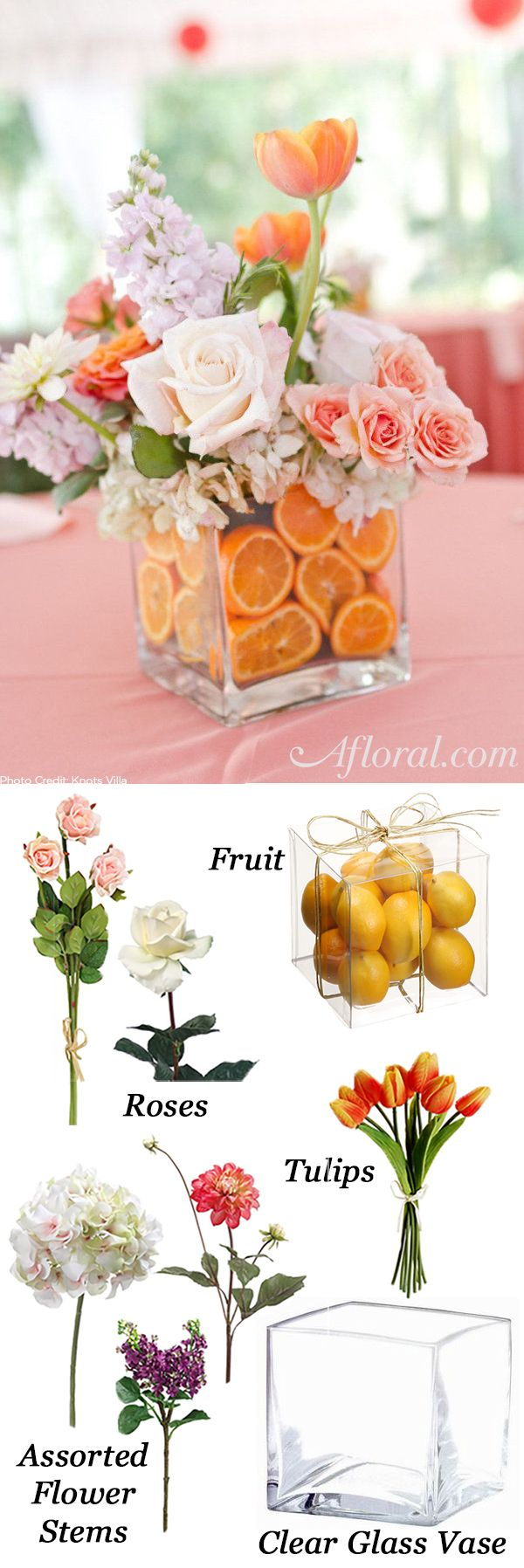 "Create a colorful and ""fresh"" look with our silk flowers and faux fruit.  Find inspiration from the Knots Villa fruit infused centerpiece and recreate this look for less with products from Afloral.com."