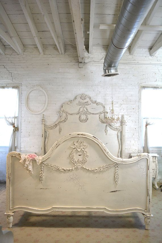 Wow what an amazing complete bed for your romantic boudoir. FEATURES: Super dramatic high headboard with lots of detail and carvings. Complete