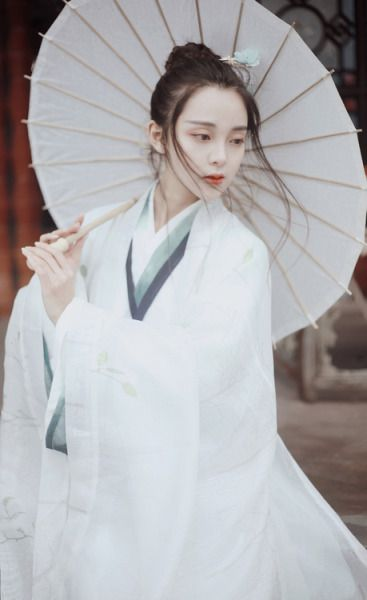 She wears hanfu in the style of the Wei/Jin Dynasties (魏晋): crossed-collar Ruqun/襦裙 and Daxiushan/大袖衫 (large-sleeve robe). Hanfu made by 司南阁/Sinange. Source