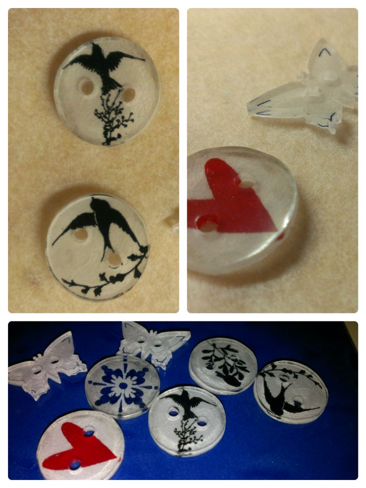 Buttons made from Shrinkles
