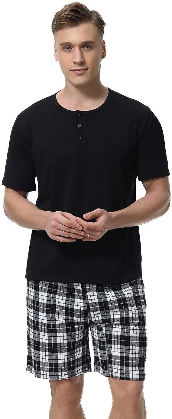 Aibrou Mens Summer Sleepwear Short Sleeve Striped Cotton Shorts and Top Pajama Set