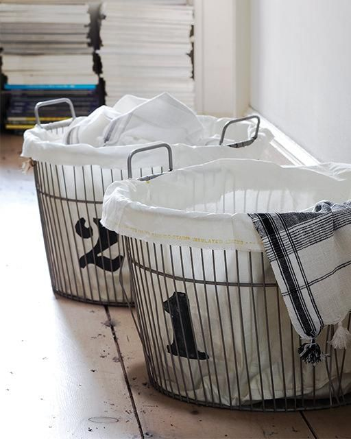 Forradas y numeradas Cestas Vintage lavandería