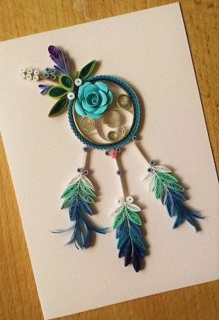 Paper Quillied beautiful Dream Catcher- Wedding ,Mothers day,Happy Birthday,Congratulations , Happy Anniversary Card by SweetPaperDesignSol on Etsy