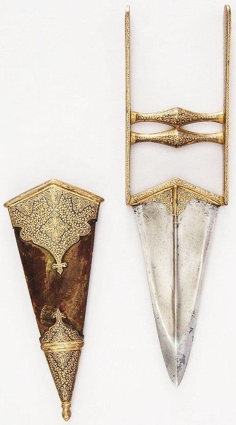 Indian katar, 18th to 19th century,  L. with sheath 13 in. (33 cm); L. without sheath 11 3/4 in. (29.8 cm); W. 3 3/16 in. (8.1 cm); Wt. 10.5 oz. (297.7 g); Wt. of sheath 4 oz. (113.4 g), Met Museum, Bequest of George C. Stone.