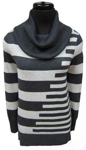 MC-L/S striped cowl neck sweater (92029A)