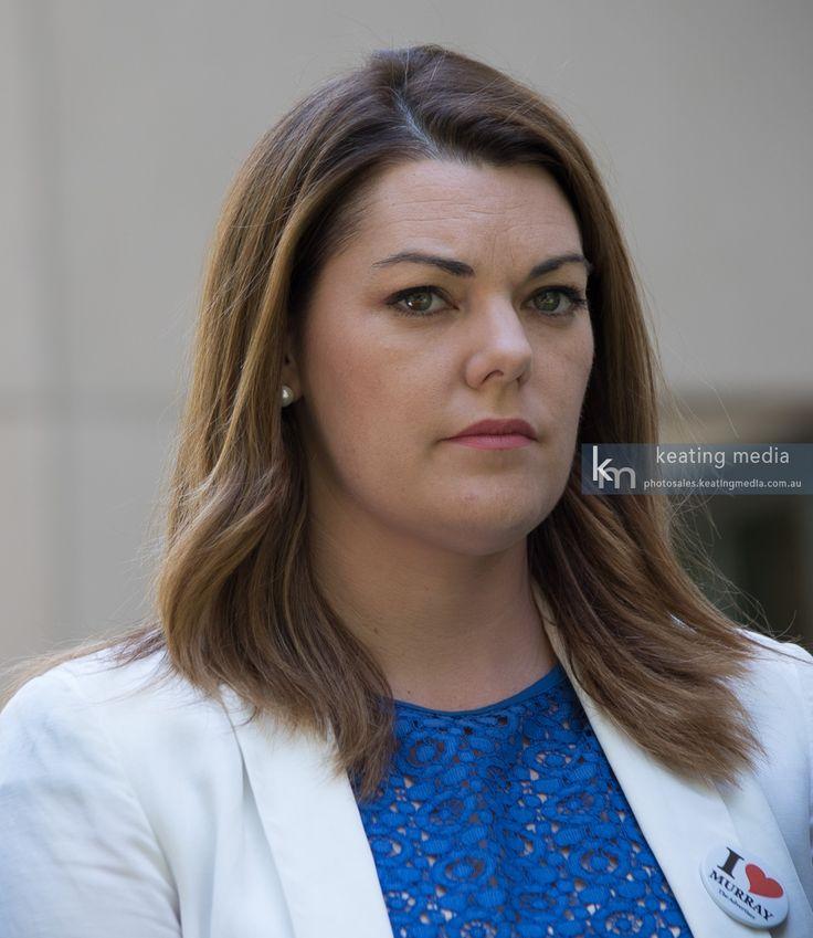 Photo of Australian Greens Senator Sarah Hanson-Young during a press conference at Parliament House