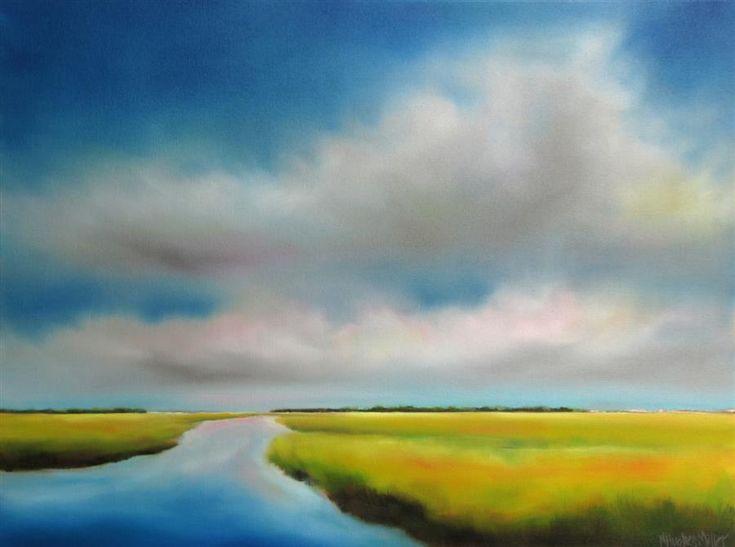 Discover #OriginalArt by Nancy Hughes Miller | Summer Sky #Marsh I oil painting | #ArtforSaleOnline at UGallery