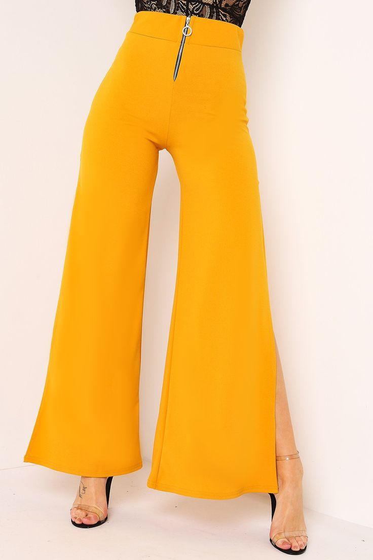 Mustard Ring Zip High Waisted Split Leg Trousers  | LASULA