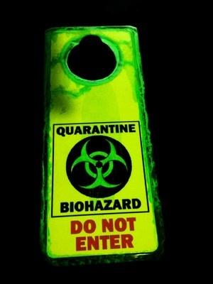 Glow in the dark. Zombie quarantine biohazard sign.