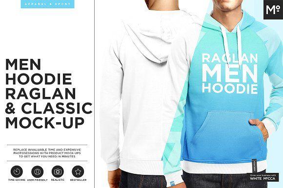 Men Hoodie Raglan & Classic Mock-up by Mocca2Go/mesmeriseme on @creativemarket