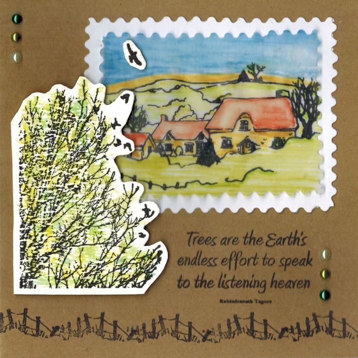 Kaart met Country scene-it set. Deze stempelset en de Deep Red Flock Raven stempel zijn verkrijgbaar bij www.multihobby.nl