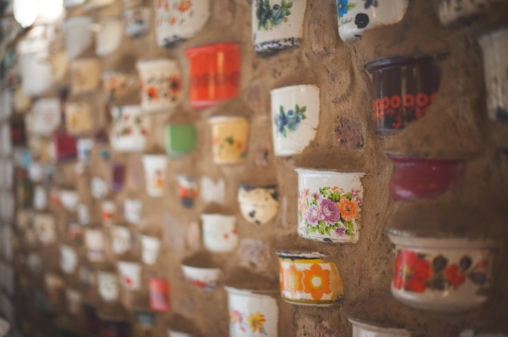 Beautiful wedding venue, Cullinan. Old pots embedded in the wall