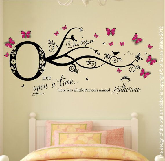 Personalised Name, Once Upon a Time Princess - Wall Art Sticker & 3D Clear Plastic Pink, Blue Butterflies, Girls Bedroom 120cm W x 60.1cm H
