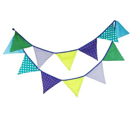 3.2M Green & Blue Vintage Fabric Flag Buntings Wedding Birthday Party Decoration