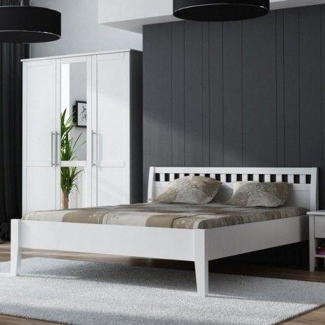 Bílá borovicová postel z masivu Venice 140x200